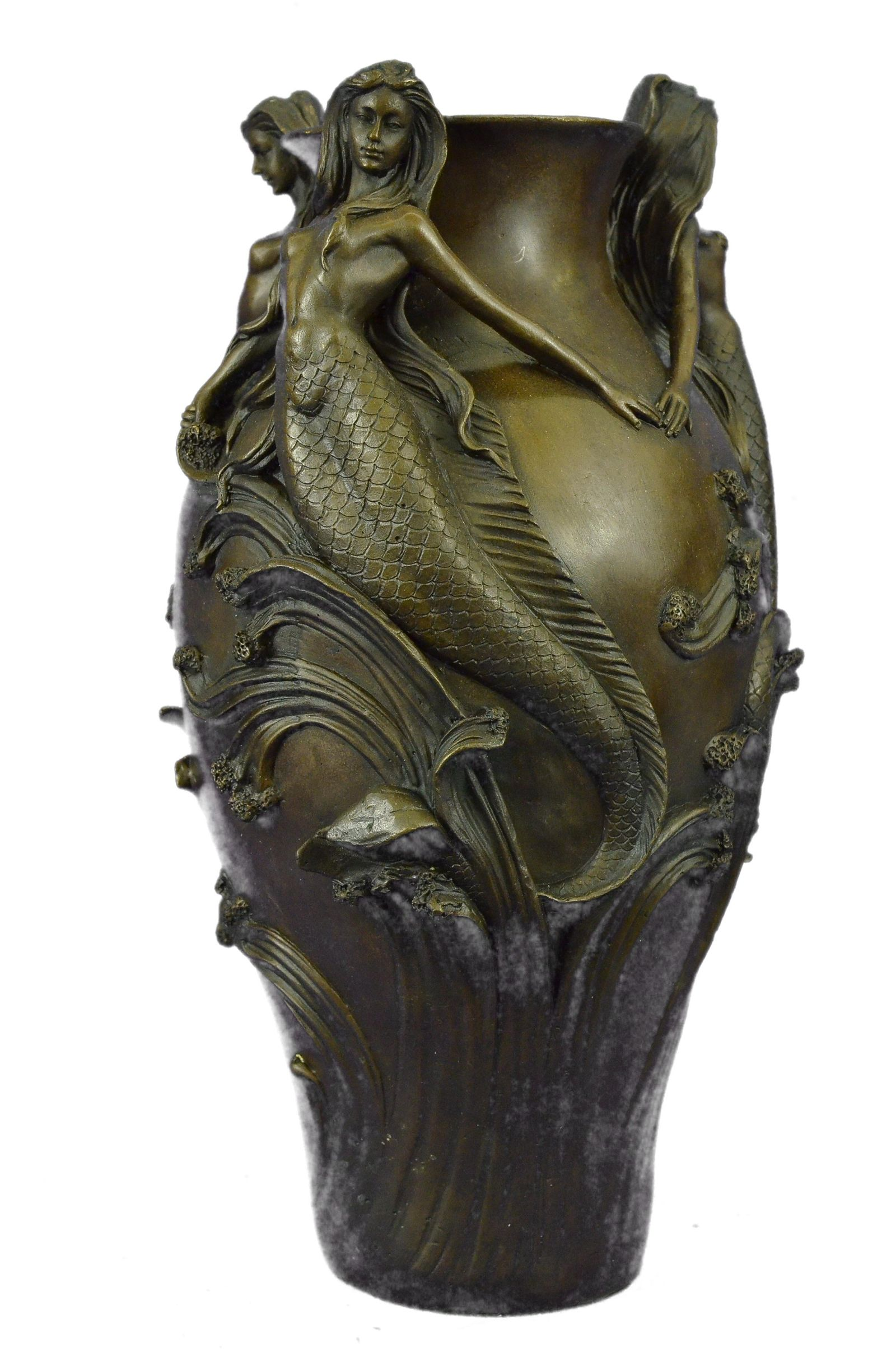 Three Beautiful Mermaids Flower Vase Bronze Sculpture
