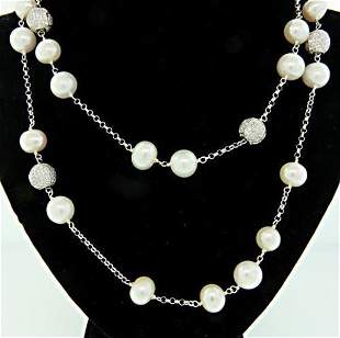 Sterling Silver Dauble Row Pearl Necklace