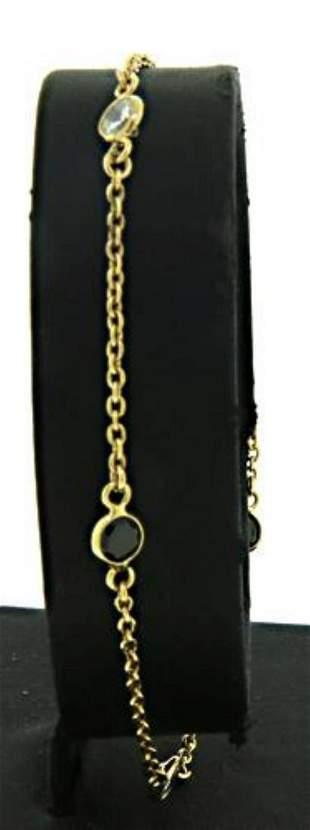 Black and White Crystal Station Bracelet