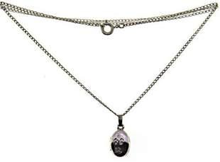 Sterling Silver Oval Flower Etched Locket Necklace