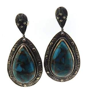925 Sterling Silver Turquoise Dangle Earrings