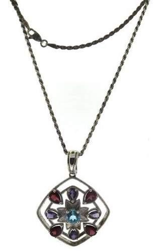 Vintage Multi Gemstone Pendant Necklace