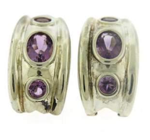 Vintage Sterling Silve Amethyst Earrings