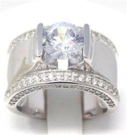 Signed PAJ Sterling Silver Cubic Zirconia Ring