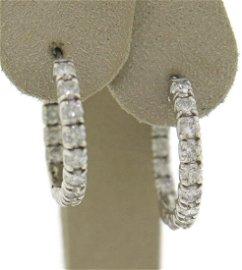 Remarkable 3cts RBC Diamond Hoop Earrings