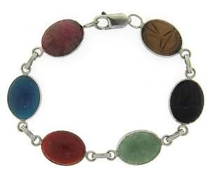Sterling Silver Multi Color Gemstone Bracelet