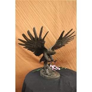 American Eagle Falcon Wild Life Garden Bronze Sculpture