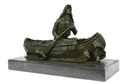 Native American Chief Embark in Canoe Bronze Sculpture