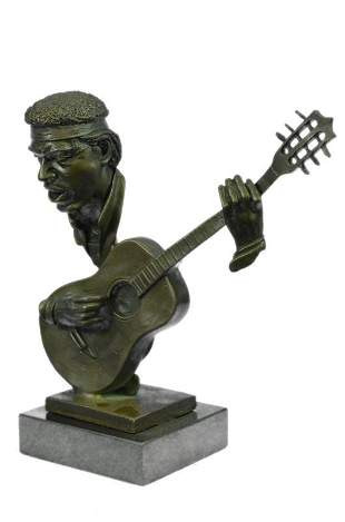 Man Playing Guitar Bronze Bust Sculpture on Marble Base
