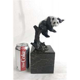 Panda Bear Bookend Bronze Sculpture