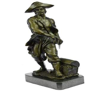 Pirate With Jewelry Chest and Sword Bronze Statue