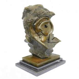 Modern Art Face Carved on Rock Bronze Sculpture