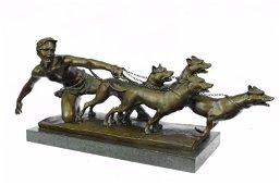 Man Pulling 3 Dogs Bronze Sculpture
