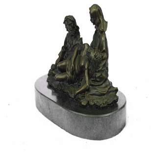 Lamentation the Dead Christ Religious Bronze Statue