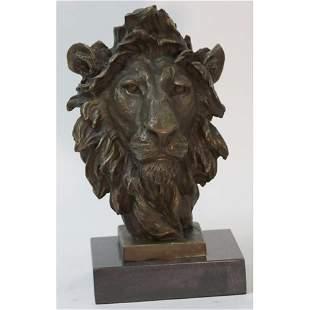 African Lion Bust Wildlife Bronze Sculpture