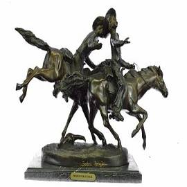 Wounded Bunkie Western Cowboy Bronze Sculpture