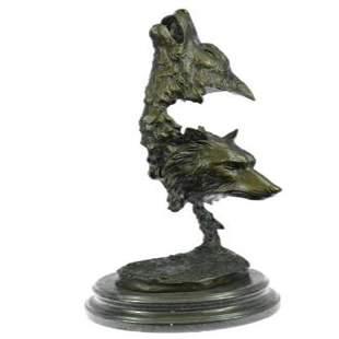 Two Wolves Head Bust Bronze Sculpture