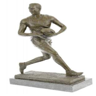Hot Cast Rugged Rugby Player Bronze Sculpture Marble
