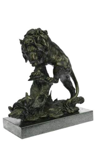 Bronze African Mountain Lion with Cub Statue Sculpture