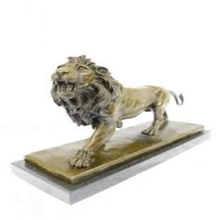 African Lion Bronze Sculpture on Marble Base Figure