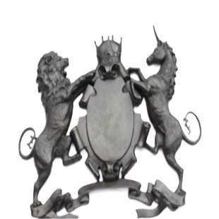 Royal Family of Arms Lion Unicorn Crown Shield Bronze