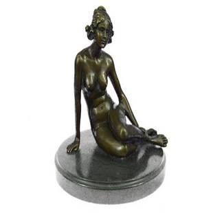 Nude Girl Sitting Bronze Sculpture