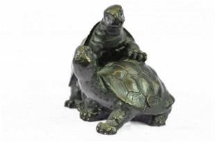 Turtle Reptile Garden Bronze Sculpture