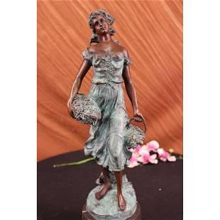 Bronze Girl Statue Sculpture Figurine