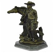 Cowboy Western Horse Bronze Sculpture
