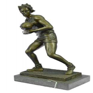 Rugby Football Player Bronze Sculpture on Marble Base