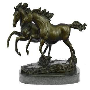 Two Running Horses Bronze Sculpture