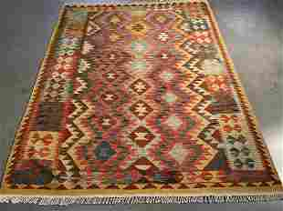 COLORFUL HAND KNOTTED KLIM RUNNER 5x6.6
