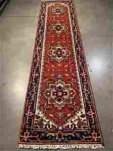 MAGNIFICENT HAND-KNOTTED SERAPI WOOL RUNNER 2.6x10