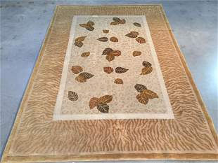 MAGNIFICENT MODERN HAND KNOTTED CARVED WOOL RUG 6x9