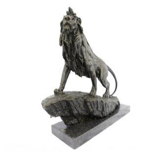Wild African Lion on Prowl Bronze Sculpture