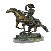 Seasoned Cowboy on Horse Bronze Sculpture