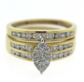 Elegant Cluster Marquise Bridal Set with Matching Band