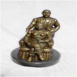 Man and Woman Portrait Bronze Statue