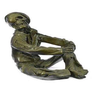 Halloween Decor Skeleton Wine Holder Bronze Sculpture