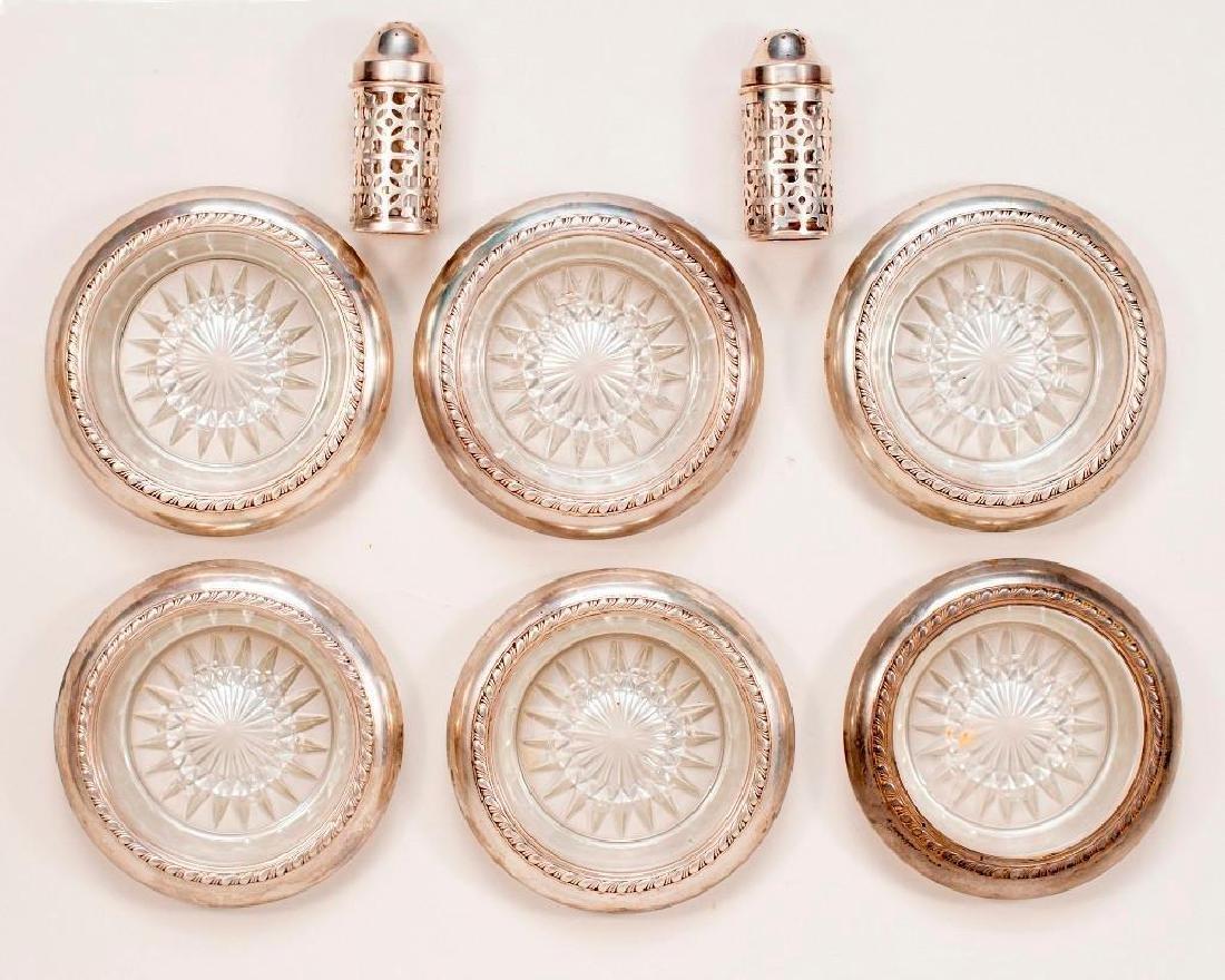 Lot Sterling Glass Coasters,Salt & Pepper, Carving Set