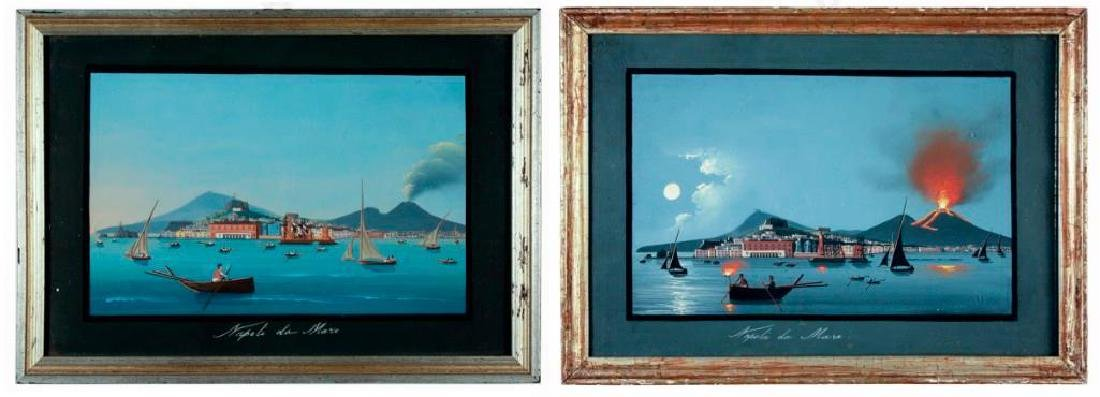 Napoli da Mare, Pair of Gouaches on Paper