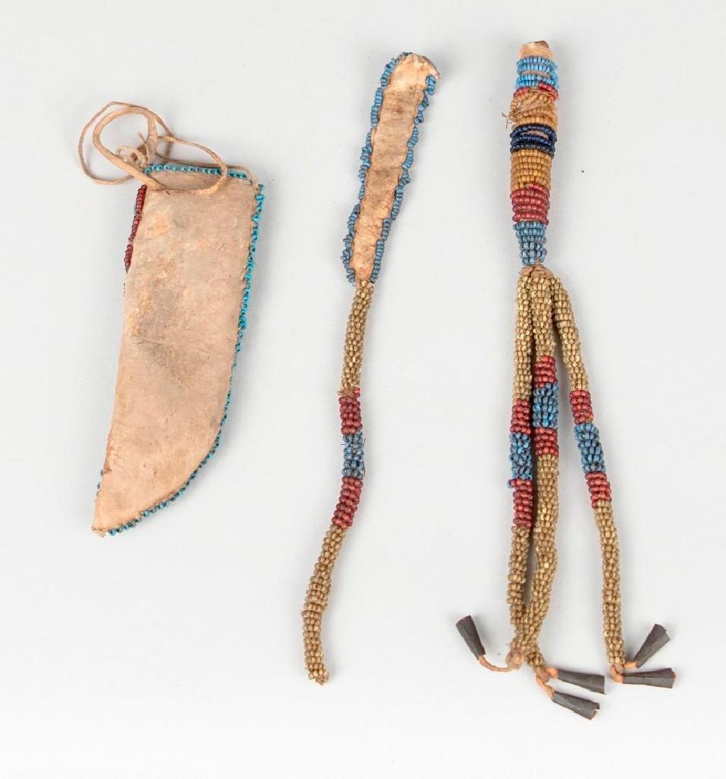 Native American Small Beaded Sheath lot - 2