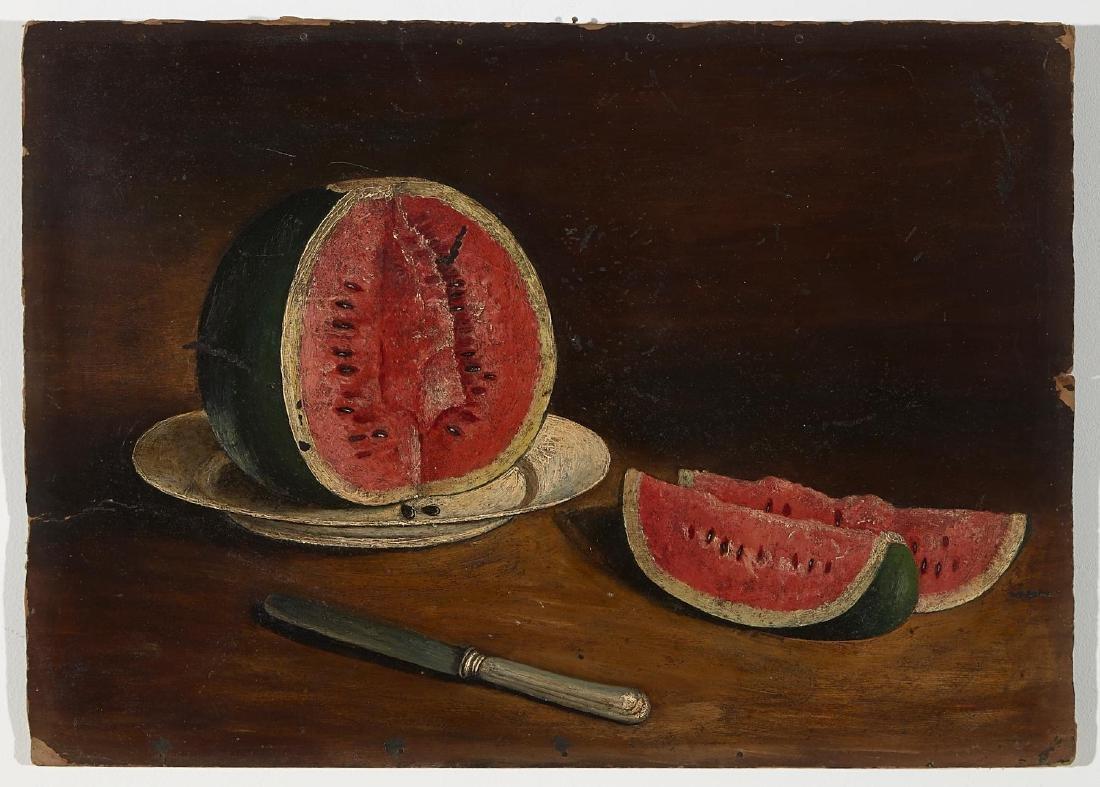 Primitive Watermelon Still Life Painting