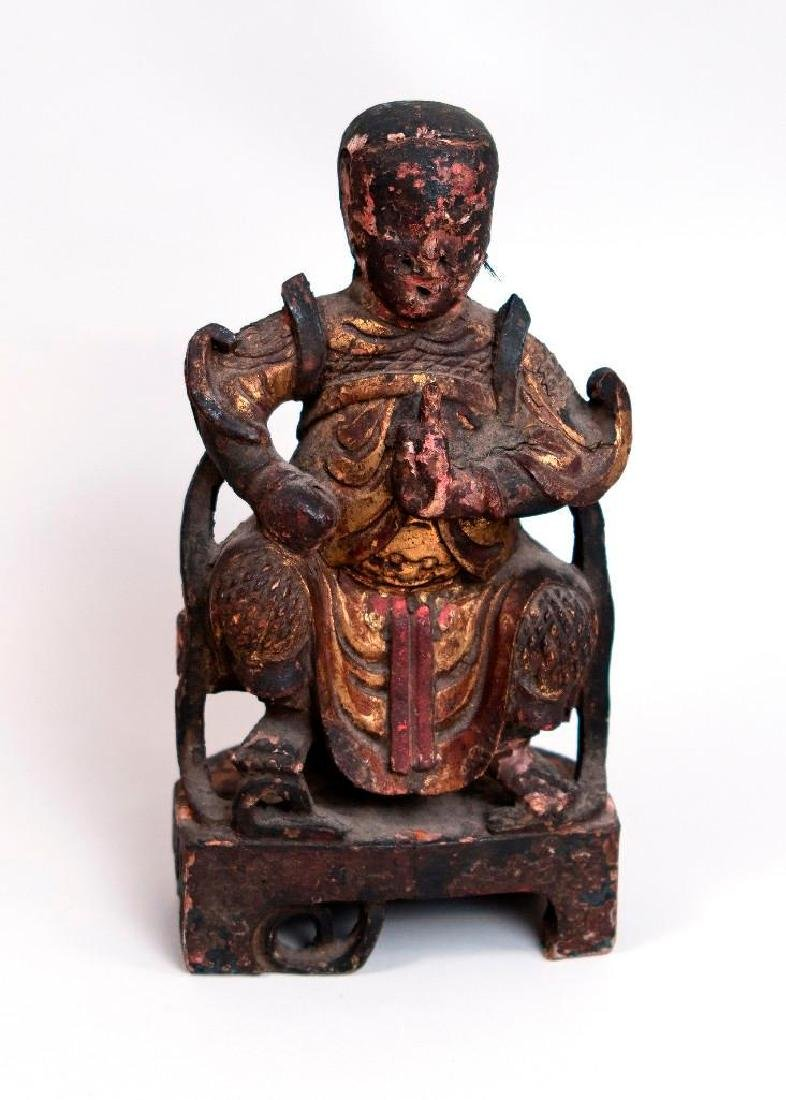 Asian Wooden Sculpture of Seated Figure