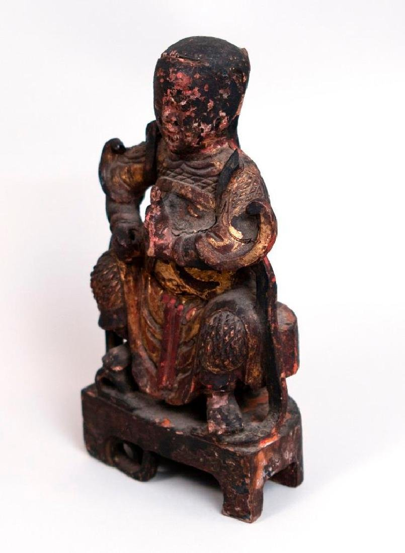 Asian Wooden Sculpture of Seated Figure - 2