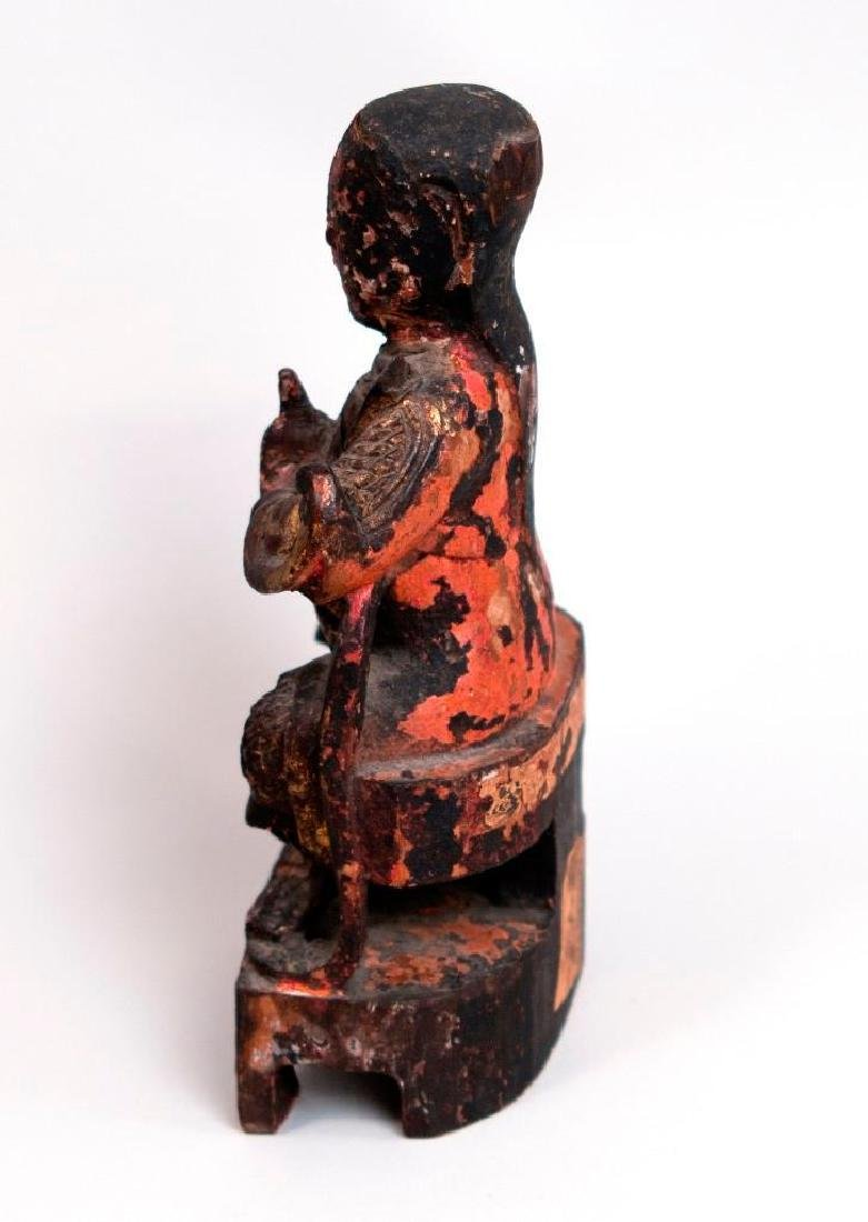 Asian Wooden Sculpture of Seated Figure - 3