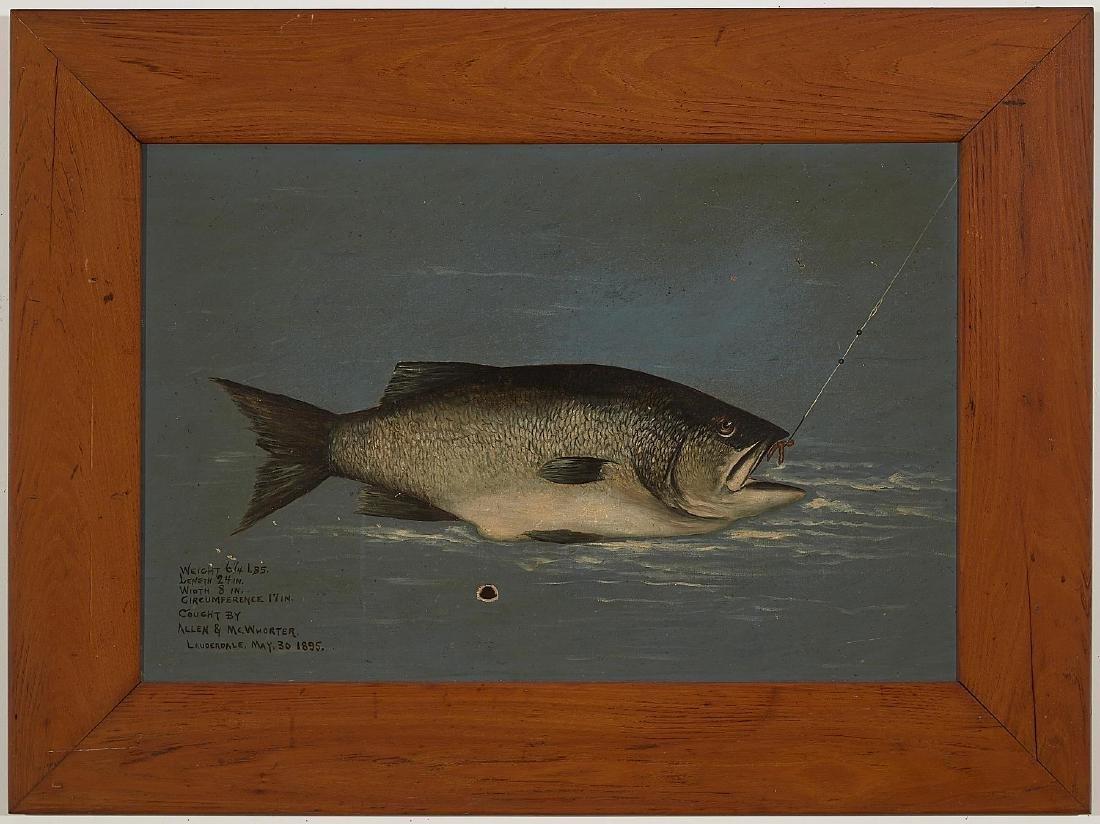 Folk Art Bass Painting - dated 1895
