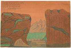 Joseph Yoakum - Mt Sir Douglas - Outsider Art
