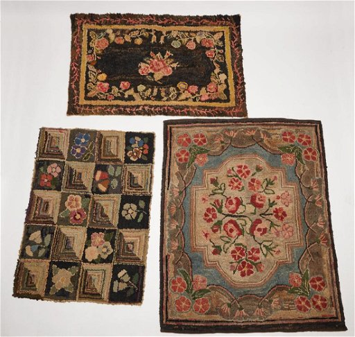 Three Antique Hooked Rugs Mar 17