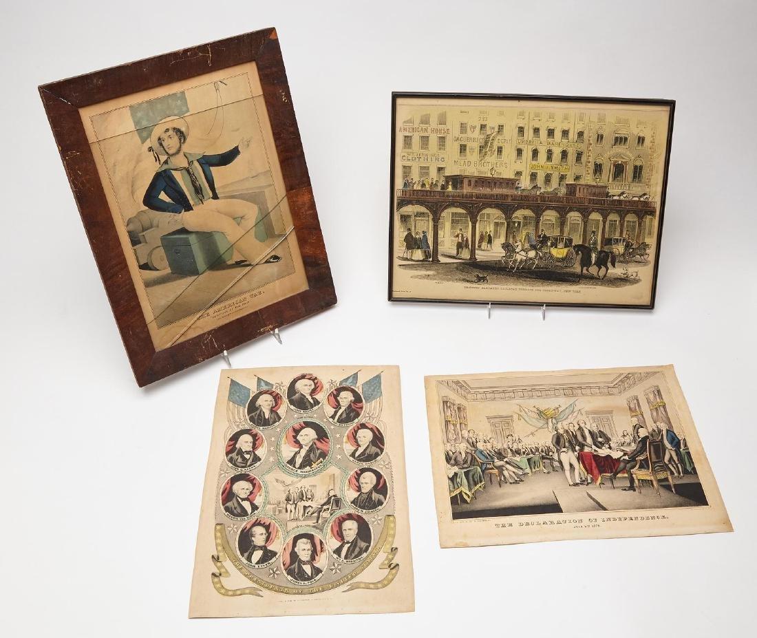 Three Currier & Ives Prints plus S.E. Brown Print